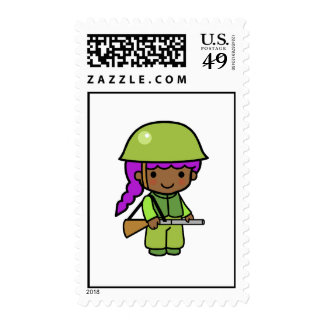 Soldier Girl Postage Stamps