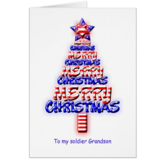 Soldier grandson, patriotic Christmas tree Card