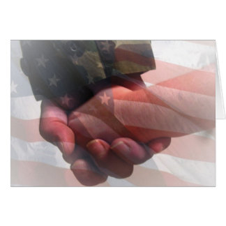 Soldier Holding Child s Hand Greeting Card