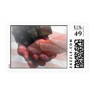 Soldier Holding Child's Hand Postage