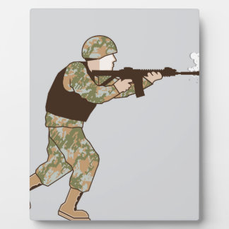 Soldier in action plaque