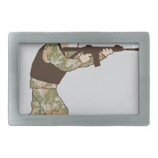 Soldier in action rectangular belt buckle