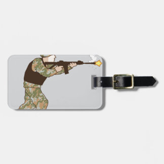 Soldier in action tag for luggage