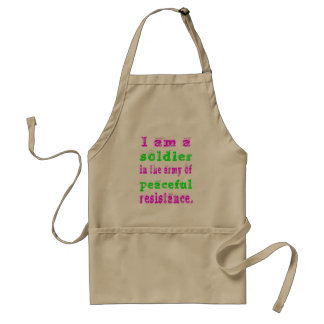 Soldier in Army Peaceful Resistance Adult Apron