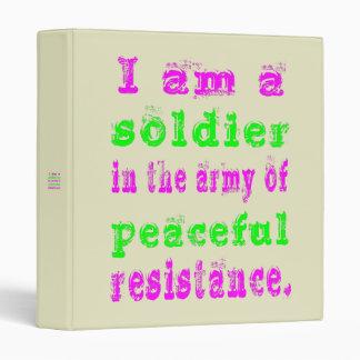Soldier in Army Peaceful Resistance Binder