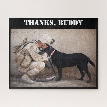 Soldier in Combat Gear & Military Dog Jigsaw Puzzle