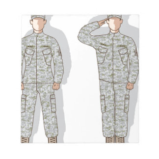 Soldier in uniform salute notepad