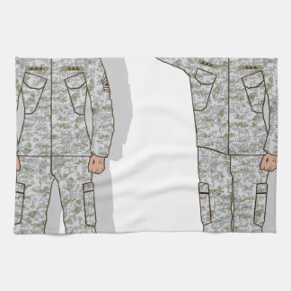 Soldier in uniform salute towels