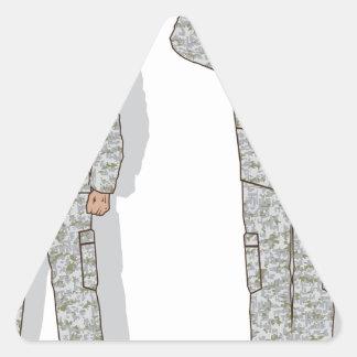 Soldier in uniform salute triangle sticker