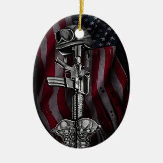 soldier.jpg caido adorno navideño ovalado de cerámica
