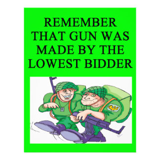 "soldier lowest bidder joke 8.5"" x 11"" flyer"