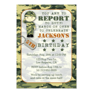 Soldier Military Camo Boy Birthday Invitation