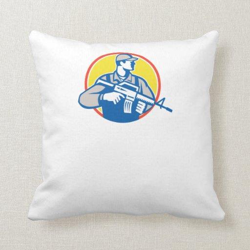 Soldier Military Serviceman Assault Rifle Side Ret Pillow