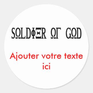 Soldier of God Grec Noir Round Stickers