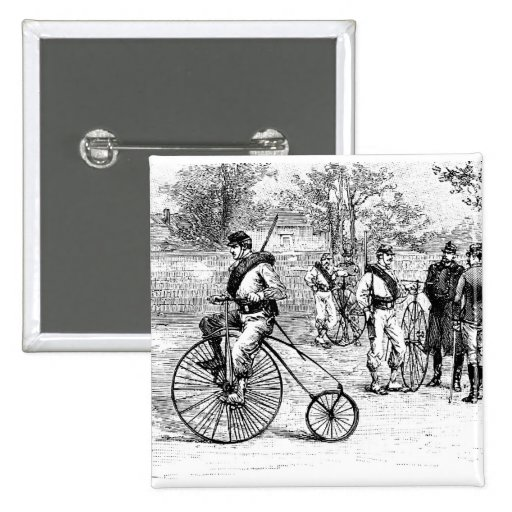 Soldier On Penny Farthing Bicycle Button