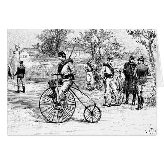 Soldier On Penny Farthing Bicycle Card