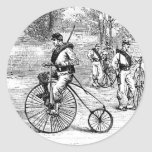 Soldier On Penny Farthing Bicycle Round Sticker