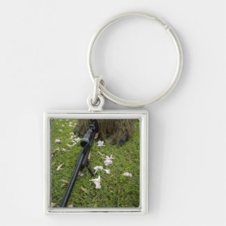 Soldier practices sniper tactics Silver-Colored square keychain
