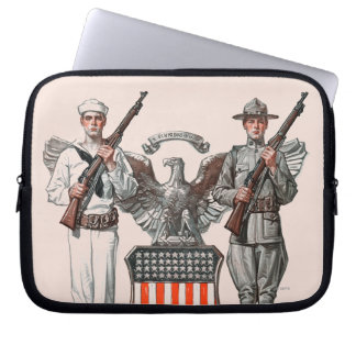 Soldier, Sailor and U.S. Shield Computer Sleeve