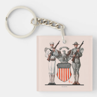 Soldier, Sailor and U.S. Shield Double-Sided Square Acrylic Keychain