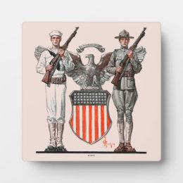 Soldier, Sailor and U.S. Shield Plaque