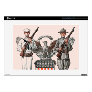 "Soldier, Sailor and U.S. Shield Skin For 15"" Laptop"