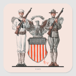 Soldier, Sailor and U.S. Shield Square Sticker