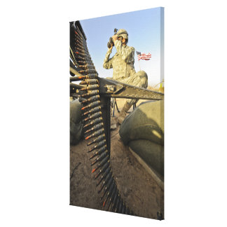soldier scouts for enemy activity canvas print