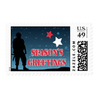 Soldier Season's Greetings Stamps at Zazzle