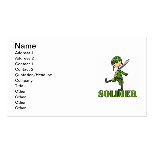 Soldier Stick Figure Business Card Templates