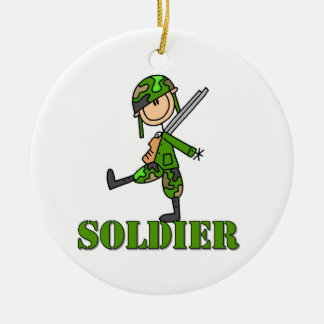 Soldier Stick Figure Ceramic Ornament