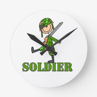 Soldier Stick Figure Round Clocks