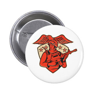 soldier swat policeman rifle eagle shield pinback button