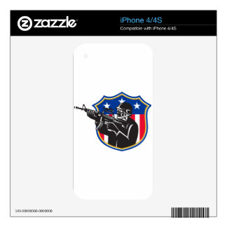 soldier swat policeman rifle shield skin for the iPhone 4