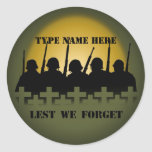 Soldier Tribute Stickers Lest We Forget Stickers
