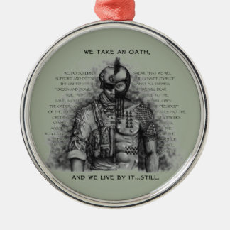 Soldier Warrior - Oath Customize Background Color Metal Ornament