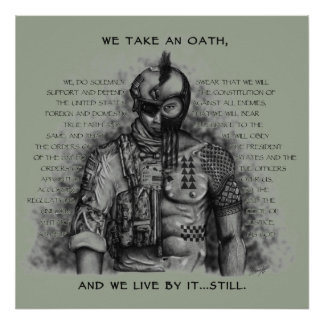 Soldier Warrior - Oath Customize Background Color Poster