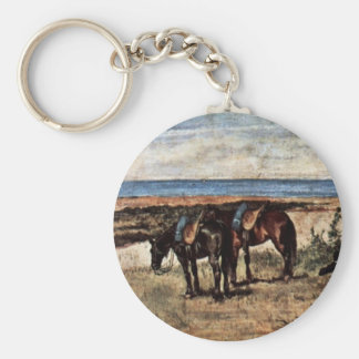 Soldier With Two Horses On The Shore Of The Sea Keychains