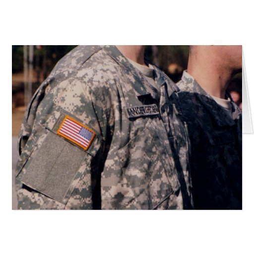 soldier with usa flag card