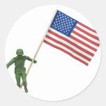 SoldierAmericanFlag072509 Pegatinas Redondas