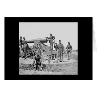 Soldiers and 24 Pounder Siege Gun Ft Corcoran 1864 Greeting Card
