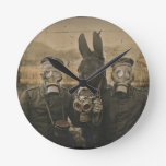 Soldiers and Donkey in Gas Masks Round Wallclock