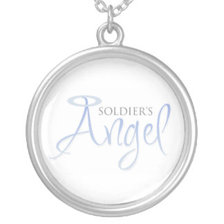 Soldier's Angel Round Pendant Necklace