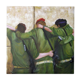 Soldiers at the wailing wall in jerusalem ceramic tile