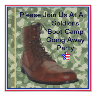"Soldiers Boot Camp Going Away Party Invitation 5.25"" Square Invitation Card"