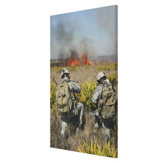 Soldiers call in information canvas prints