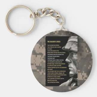soldiers creed basic round button keychain