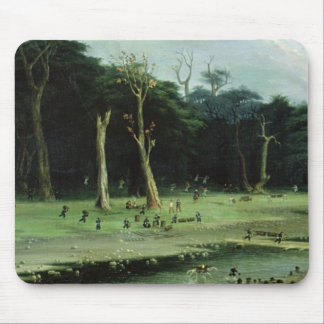 Soldiers Cutting Branches by a River (oil on canva Mouse Pad