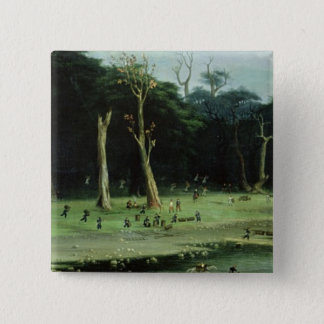 Soldiers Cutting Branches by a River (oil on canva Pinback Button