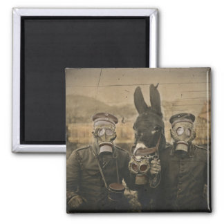 Soldiers Donkey and Gas Masks Magnet